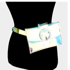 Waist belt clear hologram fanny pack with buckle